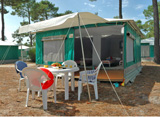 Static tent – sleeps 4 people - 2 rooms -20m² + a 5m² awning.