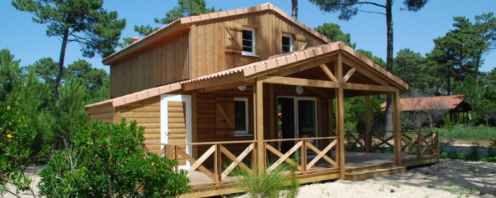 Chalet en camping naturise